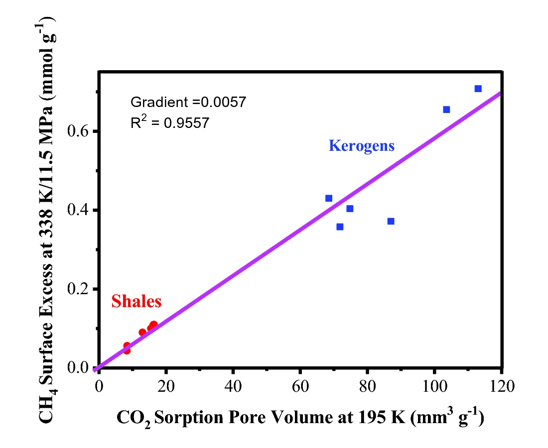 Relationship between high pressure excess methane adsorption and carbon dioxide pore volume of shales